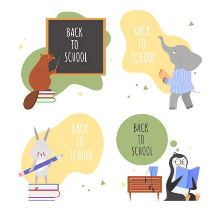 Animals back to school lettering concept vector illustration set. Cartoon flat animalistic cute characters collection with beaver penguin hare elephant learning lessons and schooling isolated on white