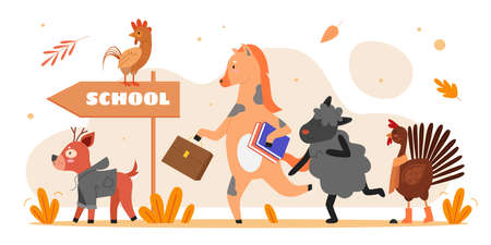 Animals go to school vector illustration. Cartoon flat cute animalistic character holding book and schoolbag, deer rooster horse sheep running to school, motivation education concept isolated on white