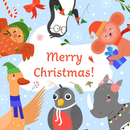 Merry Christmas invitation vector illustration. Cartoon flat cute animals greeting, celebrating Happy Christmas party event together, funny kid xmas celebration card with forest animals background Illustration