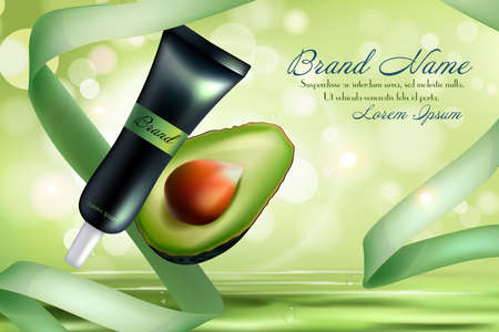 Avocado cosmetics vector illustration. Organic realistic product bottle with label for beauty face skin care and cut in half green avocado fruit, natural eco cosmetology design advertising background Ilustración de vector