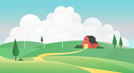 Farm summer landscape vector illustration. Cartoon farmland countryside background scene with road to farmers house through green grass field, on meadow hills, grassland and wind mills, nature scenery