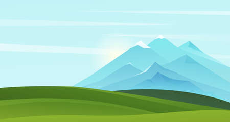 Mountain summer landscape vector illustration. Cartoon mountainous natural simple scenery background with green grass scenic fields on hills and mountains on horizon, sunny nature scene in summertime