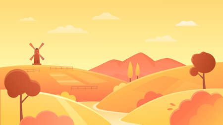 Agriculture farmland landscape vector illustration. Cartoon flat organic wheat farm fields on river bank, yellow rural round hills and wind mill on horizon, agricultural lands at sunset background