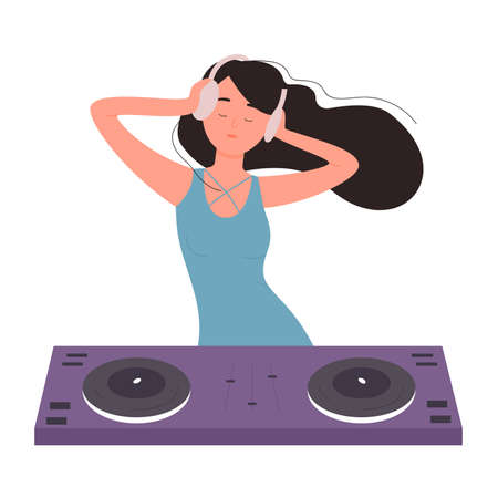 DJ beautiful young woman on musical party vector illustration. Cartoon flat female girl DJ character with turntable mixer making contemporary music in night club, spinning disc isolated on white.