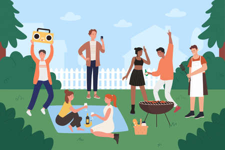 People on bbq party vector illustration. Cartoon flat young hipster friends have fun at backyard bbq grilling picnic, happy teen group characters cooking on grill, eating grilled food background Vettoriali