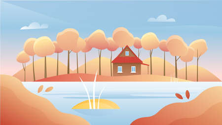 Autumn river landscape vector illustration. Cartoon flat autumnal sunny day, panorama nature woodland scenery with forest trees, rural wooden house on riverbank, fall season scenic woods background 矢量图像