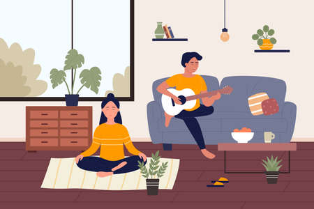 Home weekend flat vector illustration. Cartoon happy young couple people spend weekend time at home together, girl character relaxing, doing yoga meditating, guy playing music on guitar background