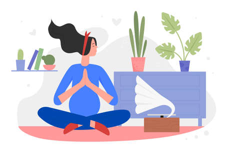 Pregnancy meditation yoga flat vector illustration. Cartoon beautiful pregnant woman character relaxing, meditating in lotus yoga asana pose, listening to music in home apartment interior background
