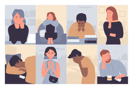 People in depression vector illustration set. Cartoon flat sad depressed man woman characters crying, unhappy lonely stressed persons sitting alone in stress emotion, anxiety or melancholy background