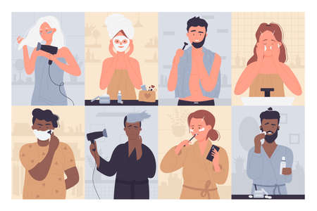 People in morning routine vector illustration set. Cartoon young woman characters brushing teeth with toothbrush in bathroom, doing beauty procedures, active man shaving, morning activity background