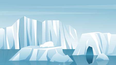 Antarctic landscape vector illustration. Cartoon nature winter arctic iceberg, snow mountains hills, scenic northern icy nature background. Vettoriali