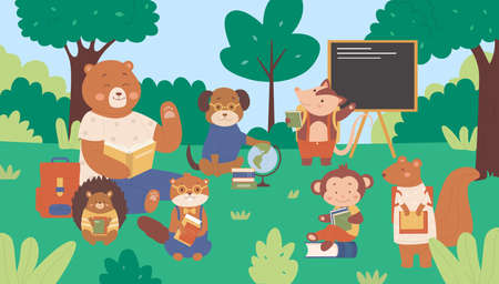 Forest animals in school vector illustration. Cartoon flat cute wild animalistic students kids characters sitting on green grass meadow among forest trees, schooling and studying in class background Illustration