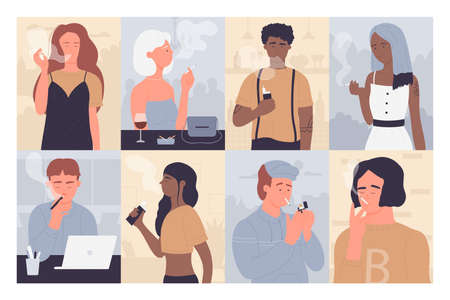 People smoke vector illustration. Cartoon flat young man woman smokers, casual style addicted characters collection of smoking persons, nicotine addicts with cigarette, lighter or vape in hand set