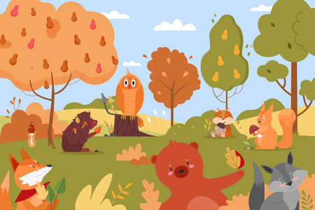 Animals in autumn forest. Cartoon flat funny animalistic characters enjoy autumn time together, cute forest wild nature scenery background