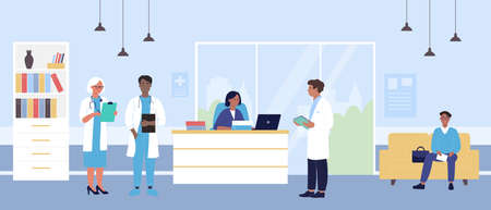 Hospital reception vector illustration. Cartoon flat doctor character team standing at receptionist table, patient waiting for doctor appointment, sitting on sofa in hospital hall interior background