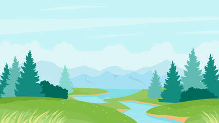 River summer landscape vector illustration. Cartoon natural peaceful scenery with calm river waters, green grass meadow hills and pine fir forest on riverbanks, summertime nature view background