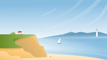 Rocky sea coast vector illustration. Cartoon flat panoramic scenic seascape with tranquil nature beach, small house on rocks, sailing boat ship in bay waters, lighthouse on horizon natural background