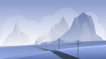 Mountain night landscape vector illustration. Cartoon flat nighttime panoramic perspective mountainous scenery with empty asphalt road, leading to rocky mountains, foggy nature scenic background Ilustrace
