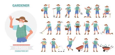 Gardener working poses infographic vector illustration set. Cartoon flat elderly bearded man worker farmer character planting and harvesting in different postures, farm garden work isolated on white