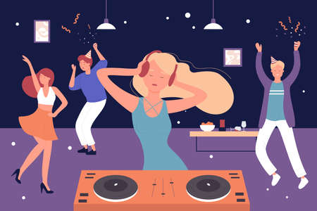 Home musical party vector illustration. Cartoon friends people listen to DJ music and dancing, man woman group of characters celebrate, have fun and happy dance in home room interior background
