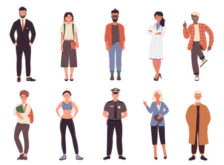 Different job or hobby people vector illustration set. Cartoon flat collection with man woman worker group of characters in uniform, businessman policeman doctor fitness trainer isolated on white