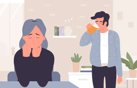Man in beer addiction vector illustration. Cartoon addict male character drinking beer alcohol, standing at home room interior, sad woman wife stressed by husband domestic alcoholism background