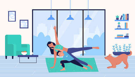 Family people training at home vector illustration. Cartoon trainer mother and son child character doing sport plank exercise in home fitness workout, healthy lifestyle in winter holidays background