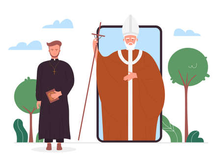 Church online vector illustration. Cartoon Christian priests in religion news for mobile app of phone gadget smartphone, internet application service program for online Bible study isolated on white