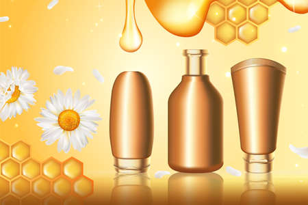 Honey cosmetics series vector illustration. Honey skin care cream product in set of 3d realistic golden container bottle packaging with honeycomb, drop and chamomile daisy flowers gold background