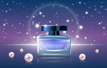 Blue perfume cosmetics vector illustration. 3d luxury realistic perfume ads design promo background with glass jar bottle mockup, night sky or open space, glittering bokeh star elements and pearls