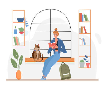 Student reading book vector illustration. Cartoon young booklover woman sitting among bookshelves, clever girl scholars reader character with glasses studying, education activity isolated on white