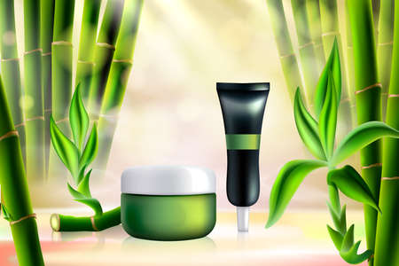 Bamboo cosmetics vector illustration. Realistic tube container for face skincare cream product, cosmetology mockup template with tropical organic ingredient, green bamboo sticks and leaves background