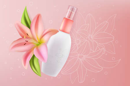Lily cosmetics for face sensitive skin beauty vector illustration. Facial skincare cream with beautiful pink lily flowers ingredient in realistic packaging bottle, healthcare cosmetology background