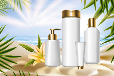 Lily cosmetic packaging series vector illustration. 3d realistic plastic bottles packages for body skincare therapy or treatment product with tropical natural lily flower floral cosmetology background Vettoriali