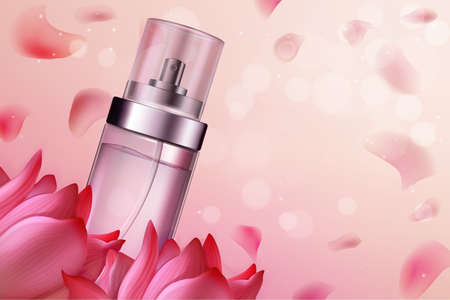 Flower perfume cosmetics vector illustration. Natural fragrance, aromatic perfumed product in realistic glass bottle on pink floral background with flower petals, cosmetology aromatherapy advertising