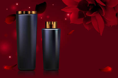 Cosmetic bottle series vector illustration. 3d black plastic packages containers with cream product for body face skincare treatment and red flower petals, natural health care, cosmetology background Vettoriali