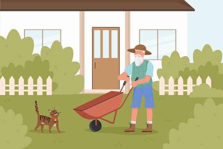 Old man gardener works in garden vector illustration. Cartoon elderly bearded farmer character working with wheelbarrow in house yard, seasonal summer agricultural work with gardening tools background
