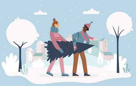 People holding Christmas tree vector illustration. Cartoon couple man woman characters carrying Christmas tree from festival seasonal market, for celebrating winter xmas holidays at home background Illusztráció