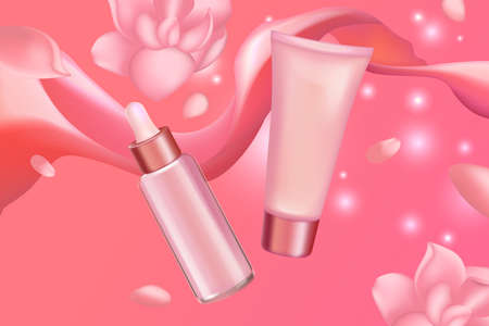 Cream serum cosmetics set for face skincare vector illustration. Luxury cosmetic bottle packages with soft pink creamy liquid and flower petals, cosmetology advertising background for catalog magazine Vettoriali