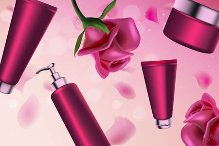 Pink rose cosmetics series vector illustration. 3d plastic cosmetic bottle with pump dispenser for body moisturizer, tube packaging with face care liquid cream product and natural pink rose background