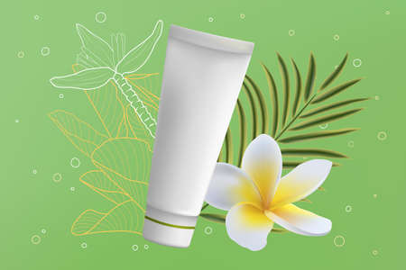 Cream tube cosmetics vector illustration. 3d realistic package ads with creamy product for beauty face skincare, green palm leaves and plumeria flower, healthcare cosmetology advertising background