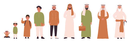 Arab muslim man in different ages vector illustration. Human life stages, childhood, youth, adulthood and senility. Children, young and elderly people flat characters isolated Иллюстрация