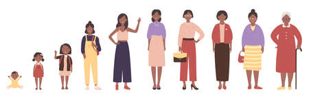 African american black woman in different ages vector illustration. Human life stages, childhood, youth, adulthood and senility. Children, young and elderly people flat characters isolated