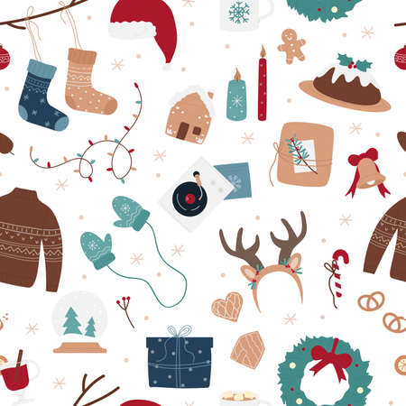 Merry Christmas seamless pattern vector illustration. Cartoon xmas background with decorated Christmas tree branch, bird with red Santa Claus hat, socks and gift boxes for celebrating winter holidays