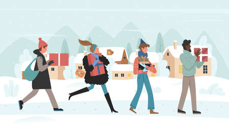 Buy gifts for Christmas eve vector illustration. Cartoon happy man woman buyers characters with box gifts walk, run for Christmas or New Year market fair big sale, xmas winter city street background