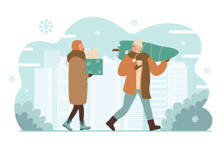 Christmas sale vector illustration. Cartoon city street and happy man woman characters wearing winter clothing, walking after shopping with surprise gift boxes and Christmas tree isolated on white Ilustração