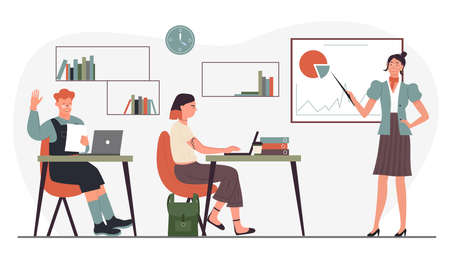 Education at school vector illustration. Cartoon teacher character holding pointer and teaching at whiteboard, group of students study in modern classroom during presentation lesson isolated on white