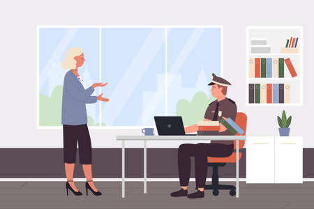 Police officer work vector illustration. Cartoon policeman character sitting at desk in police station cabinet room interior and working with woman visitor, workplace of detective worker background