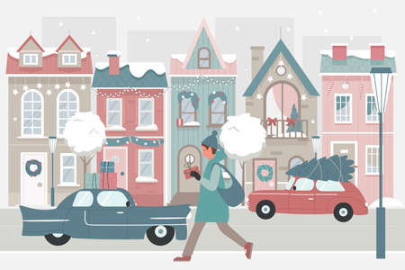 Woman walking with Christmas gifts on snow street vector illustration. Cartoon snowy festive cityscape with female character holding gift box present after shopping on winter holiday sales background