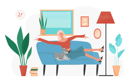 Happy young woman relaxing with pet dog at home vector illustration. Cartoon funny animal owner girl character lying on cozy sofa, spending fun time with own doggy in room interior isolated on white